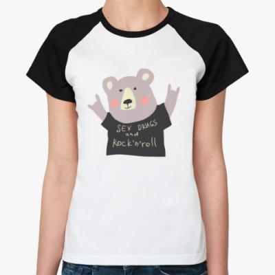 Женская футболка реглан Секс наркотики и рок-н-ролл