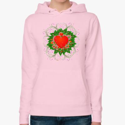 Женская толстовка худи Heart Flower