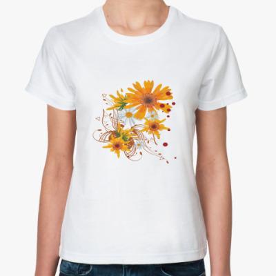 Классическая футболка Цветы ORANGE