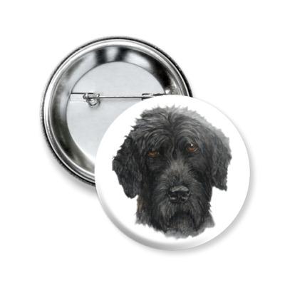 Значок 50мм Черный терьер собака
