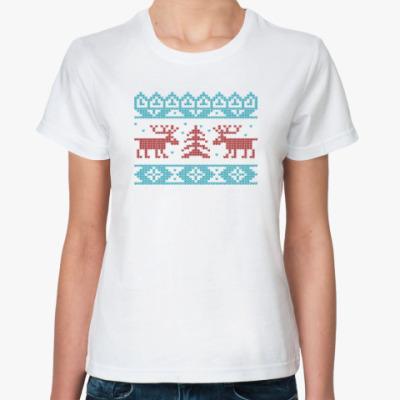 Классическая футболка Олени. Deers. Knitt. Зима.