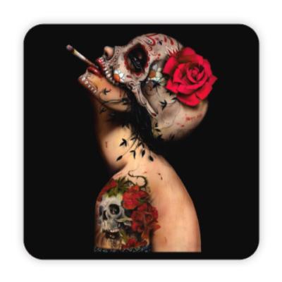 Костер (подставка под кружку) Sugar skull girl