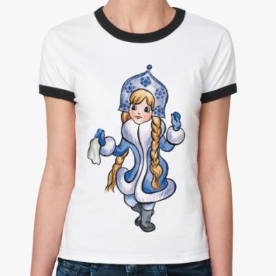 Женская футболка Ringer-T снегурочка