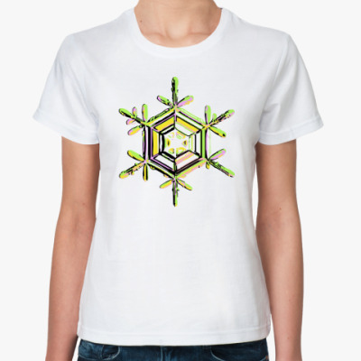 Классическая футболка Зеленая снежинка