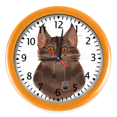 Настенные часы Чайный кот