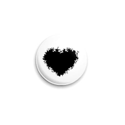 Значок 25мм black heart