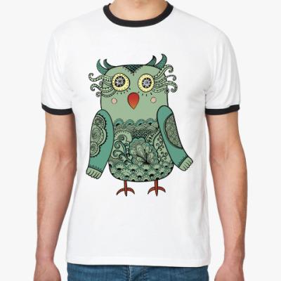 Футболка Ringer-T Зеленая лесная совушка