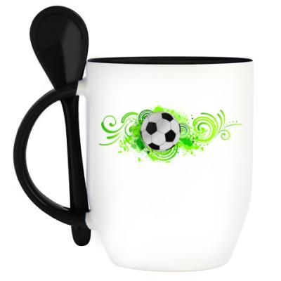 Кружка с ложкой Футбольный мяч