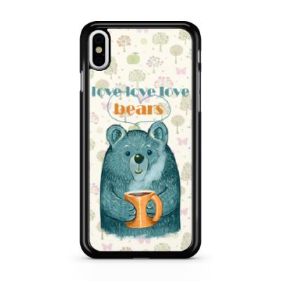 Чехол для iPhone Медведь с кружкой
