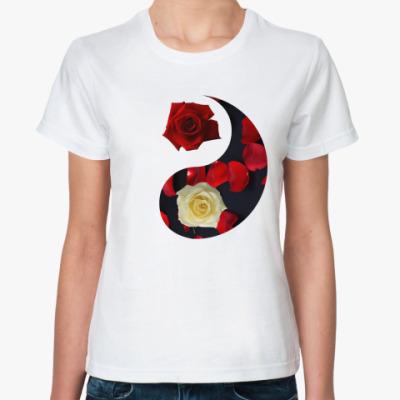 Классическая футболка  'Инь-Ян' (розы)