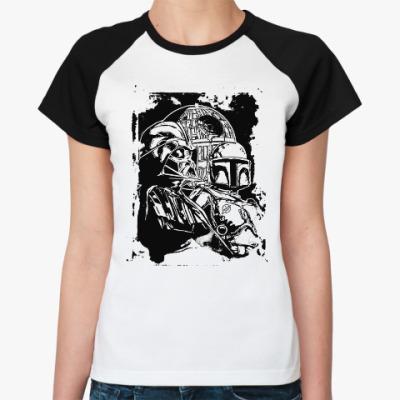 Женская футболка реглан Дарт Вейдер и Боба Фетт