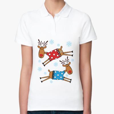 Женская рубашка поло Новогодние олени в свитерах