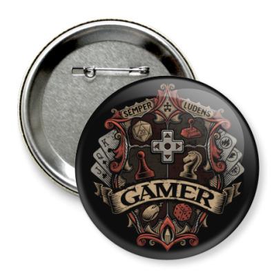 Значок 75мм Герб Геймера Gamer