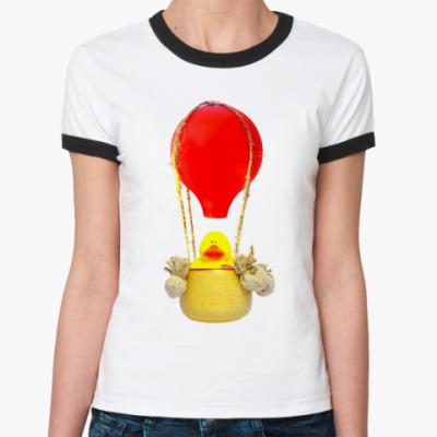 Женская футболка Ringer-T В корзине воздушного шара