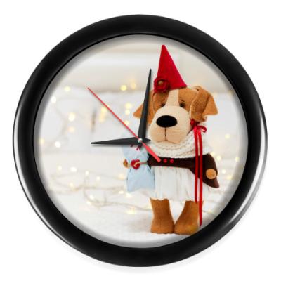 Настенные часы Новогодняя собачка