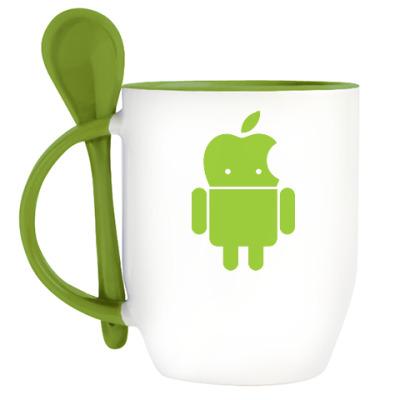 Кружка с ложкой Андроид голова-яблоко