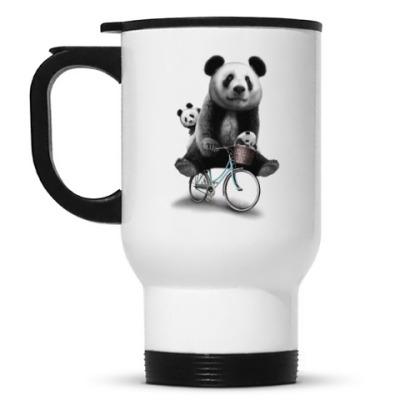Кружка-термос Панды на велосипеде