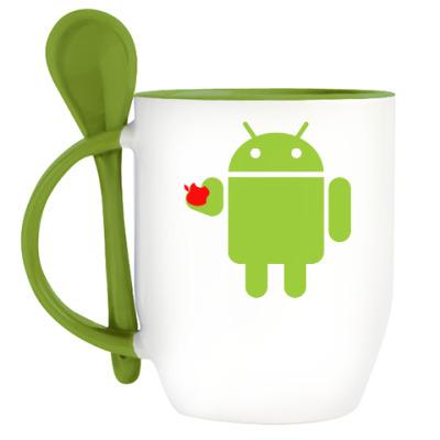 Кружка с ложкой Андроид с яблоком