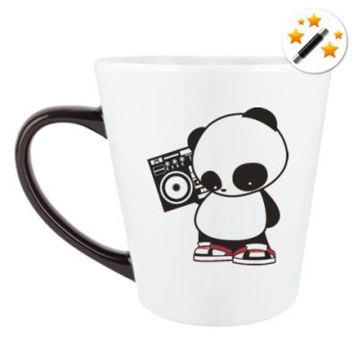 Кружка-хамелеон Панда с магнитофоном