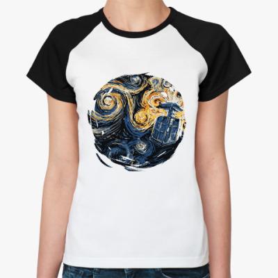 Женская футболка реглан Тардис Ван Гог