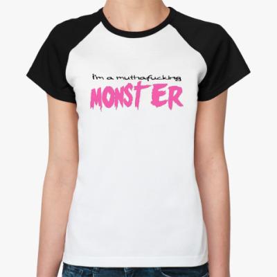 Женская футболка реглан   Monster