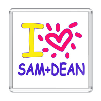 Магнит Supernatural - I love Dean+Sam