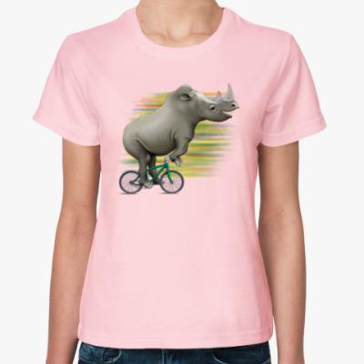 Женская футболка Носорог на велосипеде