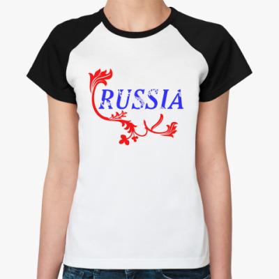Женская футболка реглан Российская Федерация