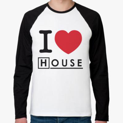Футболка реглан с длинным рукавом I heart House