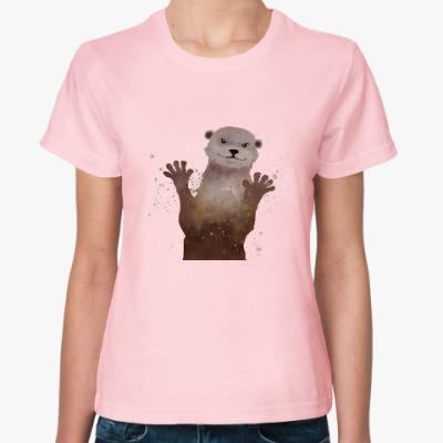 Женская футболка Выдра и брызги