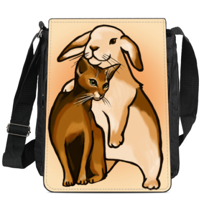 Сумка-планшет Кролик и кот