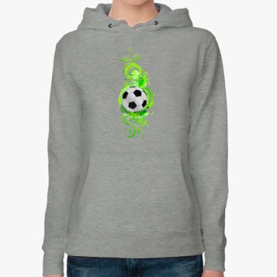 Женская толстовка худи Футбольный мяч