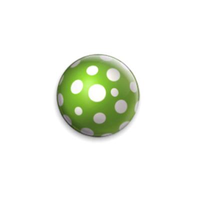 Значок 25мм  25 мм Грибок зеленый