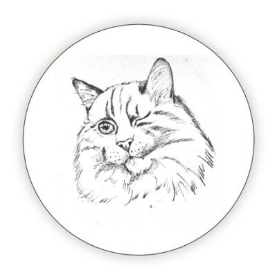 Костер (подставка под кружку) Хитрый кот