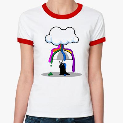 Женская футболка Ringer-T дождь из красок