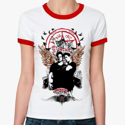 Женская футболка Ringer-T Сэм и Дин - Supernatural