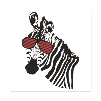 Наклейка (стикер) Зебра в очках