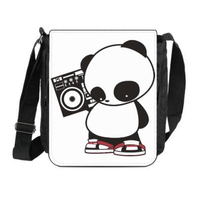 Сумка на плечо (мини-планшет) Панда с магнитофоном