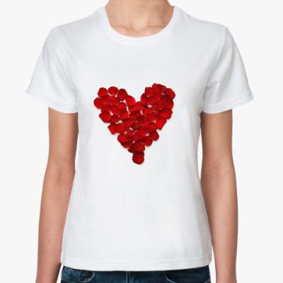 Классическая футболка  Сердце из лепестков