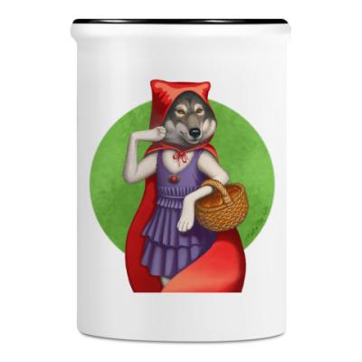 Подставка для ручек и карандашей Волк в красном