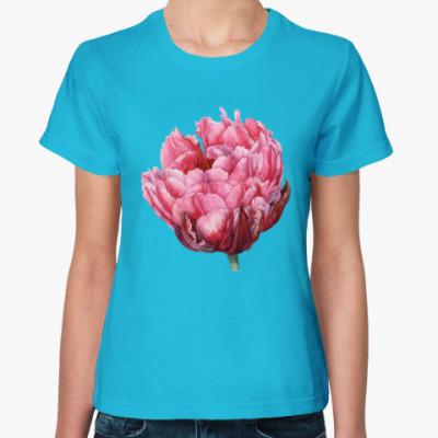 Женская футболка Тюльпан акварель
