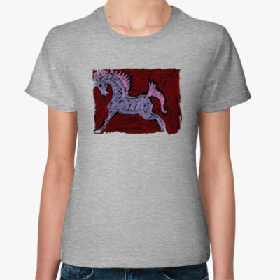 Женская футболка Розовый конь