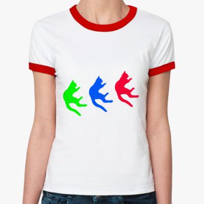 Женская футболка Ringer-T Падающие коты