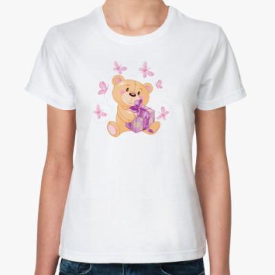 Классическая футболка Медвежонок с подарком