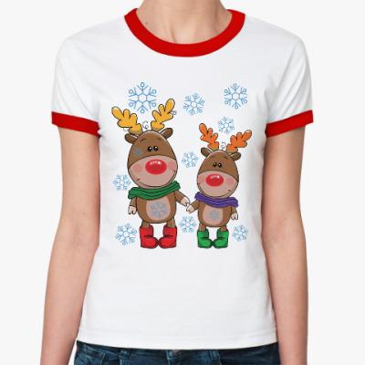 Женская футболка Ringer-T Олени