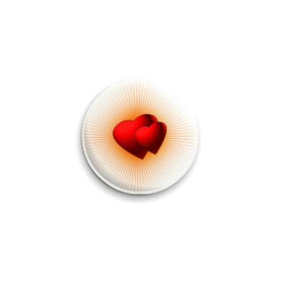 Значок 25мм  'Сердца в лучах'
