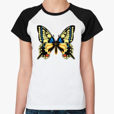 Женская футболка реглан Бабочка МАХАОН