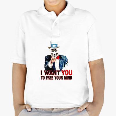 Детская рубашка поло Anonymous Uncle Sam