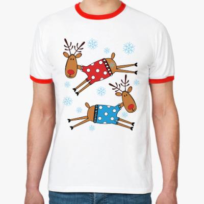 Футболка Ringer-T Новогодние олени в свитерах