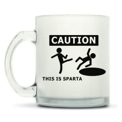 Кружка матовая Caution: this is Sparta